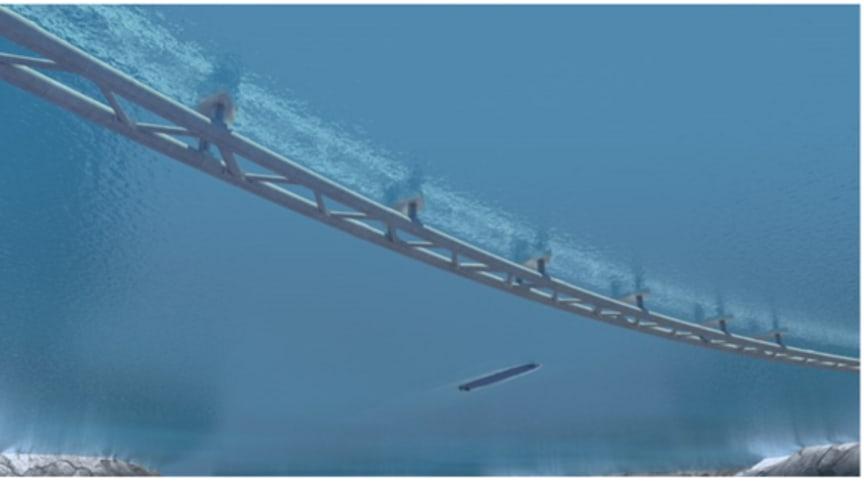 Konsortiet Dr. techn. Olav Olsen och Norconsult har vunnit tre förprojekteringsuppdrag av fjordförbindelser för Statens vegvesen. (Bilden av en rörbro är inte direkt knuten till uppdragen. Illustration: Vianova/Baezeni.)