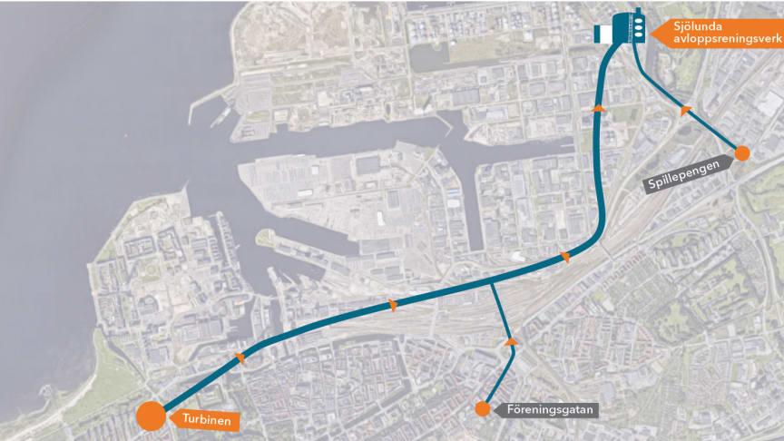 Planerad sträckning för en avloppstunnel i Malmö. Tunneln byggs på ett betydande djup, vilket underlättar stadens tillväxt, och med en lutning som gör att vattnet av sin egen kraft kommer till avloppsreningsverket.