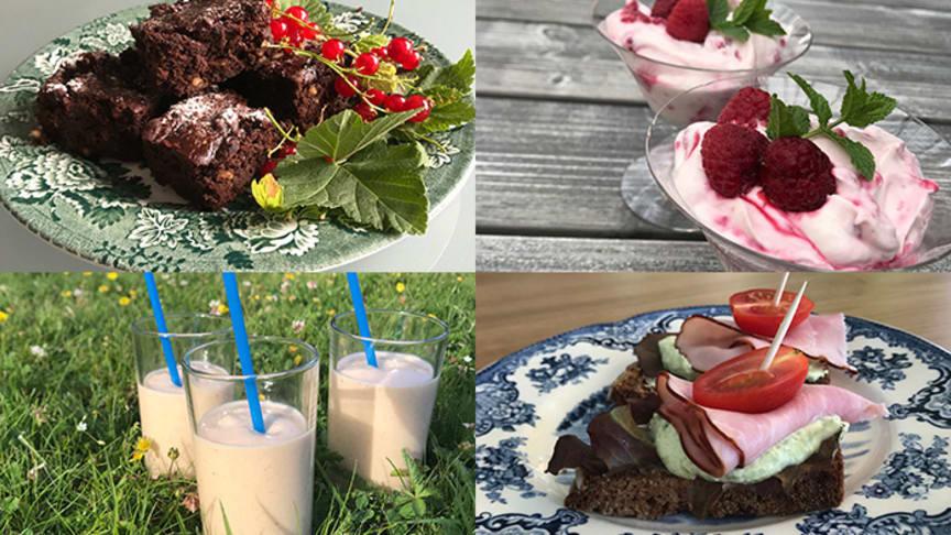 Aptitretare, proteinrika mellanmål och bakverk lagade vid utbildningar för personal i projektet  SMAK: brownie gjord på bönor, bärkvarg, Nyponkärlek (smoothie) och snittar med ärtkräm.
