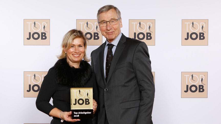 Barbara Höfel, Personalleiterin und Mitglied der BPW Geschäftsleitung, mit Wolfgang Clement, TOB JOB Mentor/Wirtschaftsminister a.D. (Quelle: zeag GmbH)