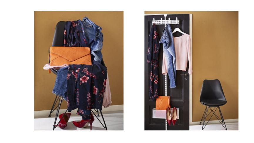 Elfa_Smart dold förvaring på baksidan av dörren av halvsmutsiga kläder.
