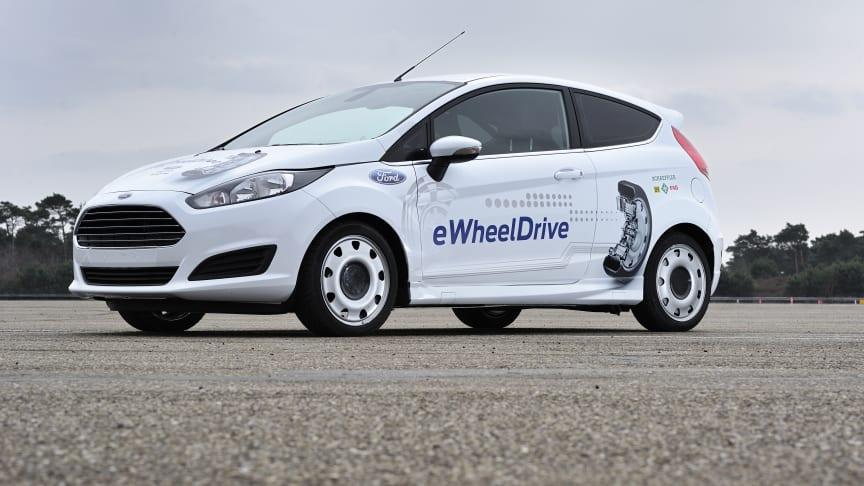 Ford och Schaeffler visar upp sitt eWheelDrive-projekt –Fiesta-baserad forskningsbil kan ge större smidighet och enklare parkering i tätort