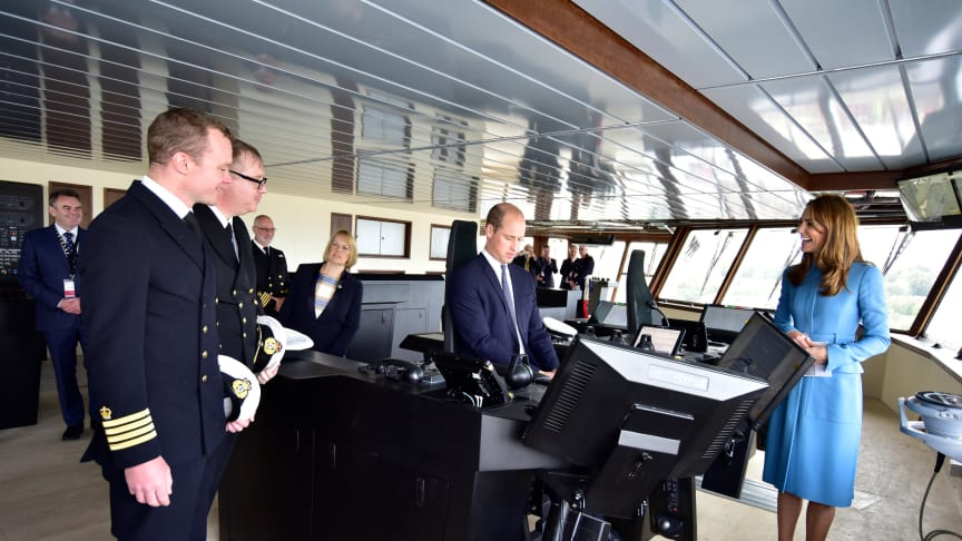 Royal Ceremonial Naming of RRS Sir David Attenborough. Sir David Attenborough and Duke and Duchess of Cambridge attended the event on Thursday – pictured with Kongsberg Maritime systems on the bridge. Photo credit: British Antarctic Survey