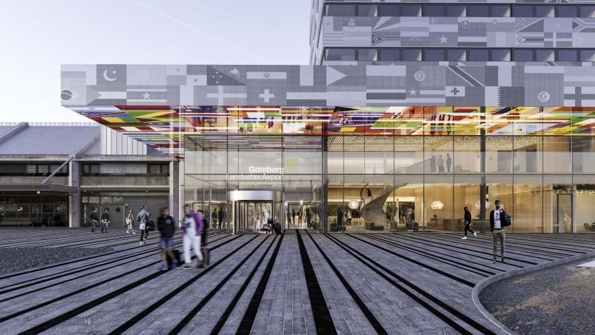 Så kommer det nya hotellet i anslutning till terminalen att se ut. Visionsbild: Wingårdh Arkitekter