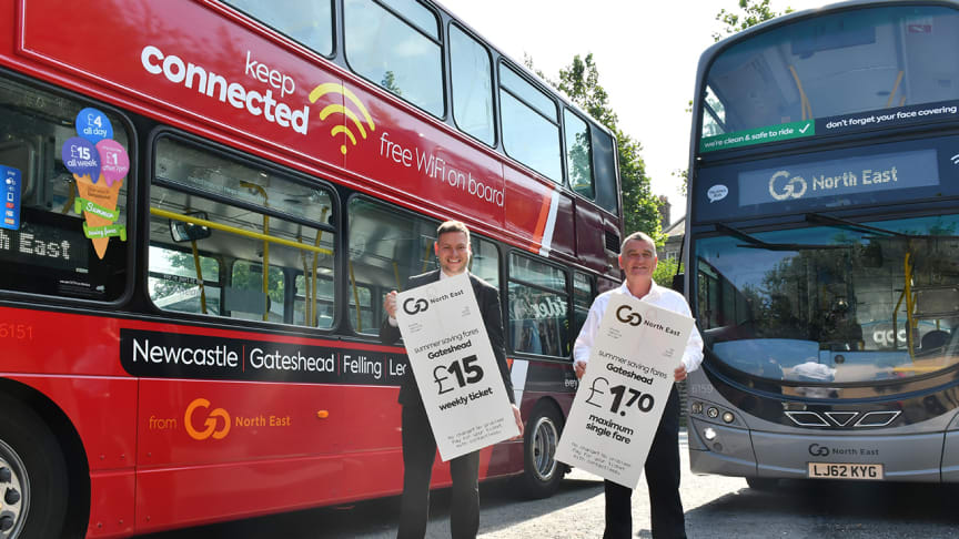 Martijn Gilbert managing director at Go North East (left) and Cllr Martin Gannon leader of Gateshead Council and chair of the North East Joint Transport Committee (right)