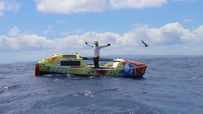Lia Ditton celebrates finishing her epic 86-day row from San Francisco to Hawaii. Credit: Ken Watts