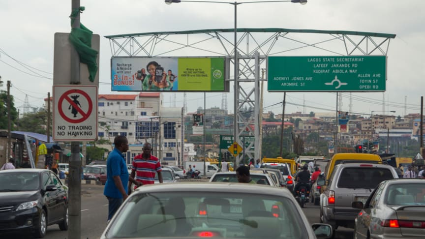 Traffic jam in Lagos, the largest city in Nigeria and the African continent. Lagos is one of the fastest growing cities in the world.