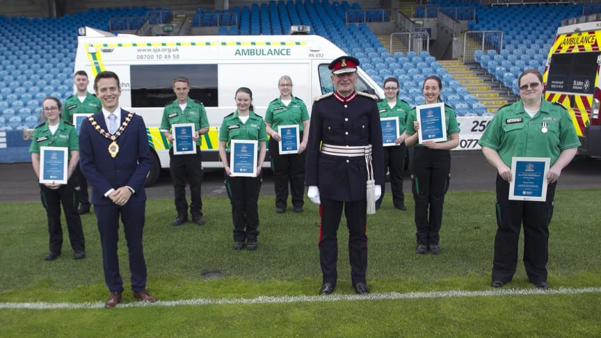 Members of St John's Ambulance from across the borough are presnsted with certificates by the Mayor Cllr Peter Johnston and Lord Lieutenant of County Antrim, David McCorkell.