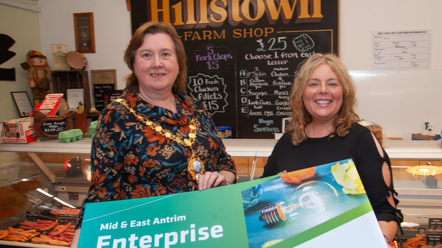 Mayor of Mid and East Antrim Borough, Cllr Maureen Morrow, with Council's Economic Development Officer Jacqueline Reid