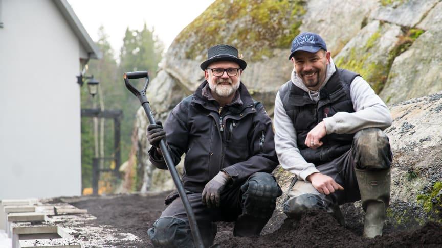 Björn bygger bo – Murad trädgårdsmur