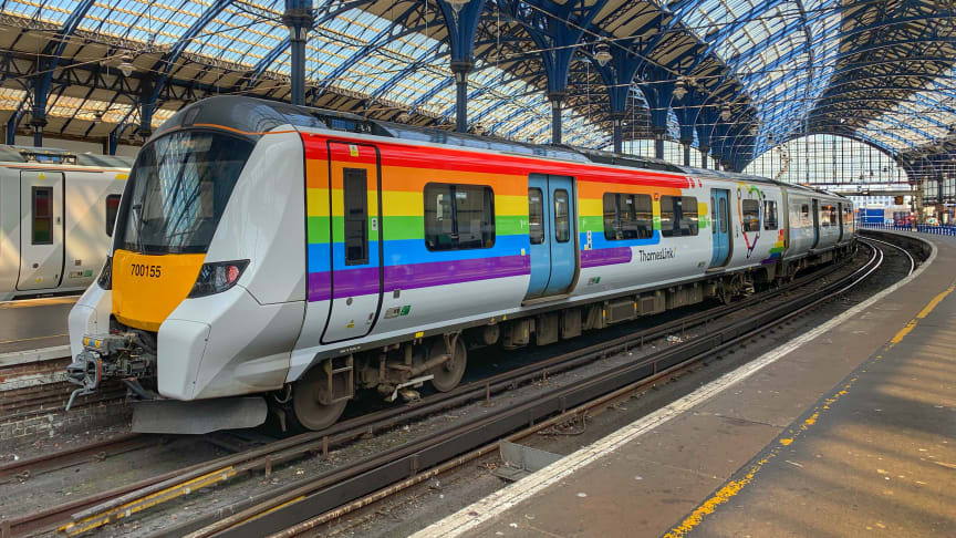 Pride of the fleet: Thameslink in 2019 repainted one of its Siemens Mobility-built Class 700 trains in the colours of the rainbow to celebrate the rail company's thriving LGBT+ community