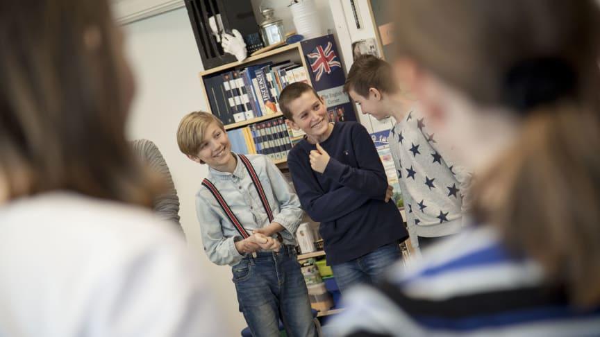 Elever från Ringstorpsskolan i Helsingborg under en workshop.