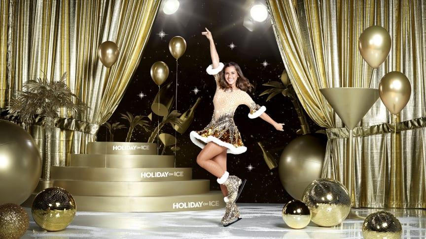 Sarah Lombardi taucht ein in die Welt von HOLIDAY ON ICE und kommt mit SHOWTIME nach München. Beim Shooting trug sie zum ersten Mal ihr eigens für die Show angefertigtes Kostüm von Stardesigner Stefano Canulli.