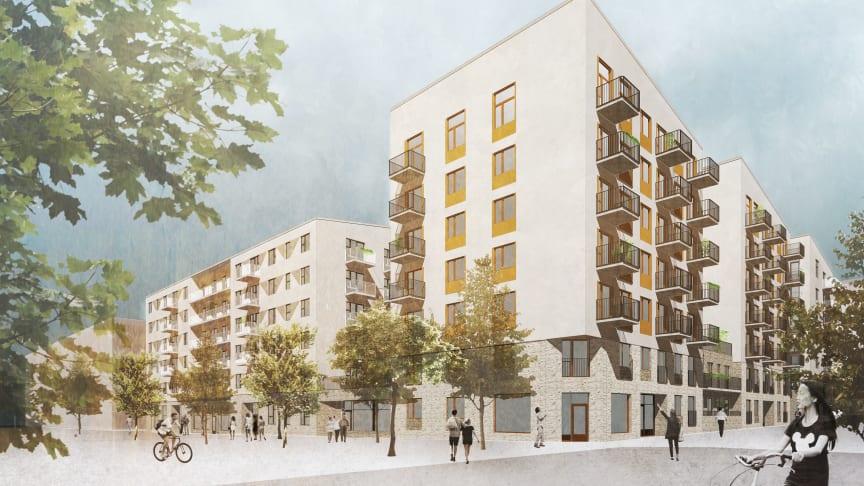 Illustration av HållBos nybyggnadsprojekt i Barkarbystaden