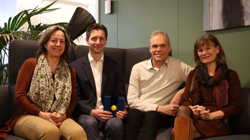 Units forhandlingsteam: (f.v.) Katrine Weisteen Bjerde, Nils Andenæs, Tore Nilsen og Nina Karlstrøm. Foto: Unit