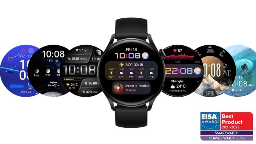 "Huawei Watch 3 Pro har tilldelats priset ""EISA Best Smartwatch 2021–2022""."