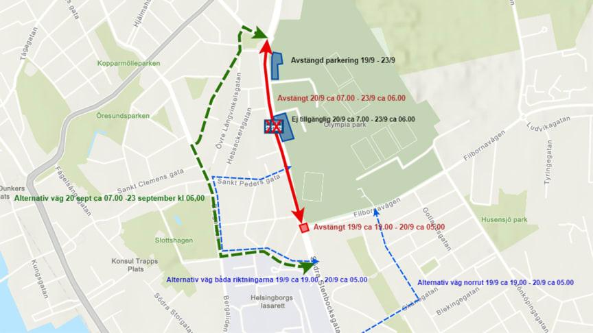 Avstängda sträckor och busshållplatser, tider och alternativa vägar 19-23 september