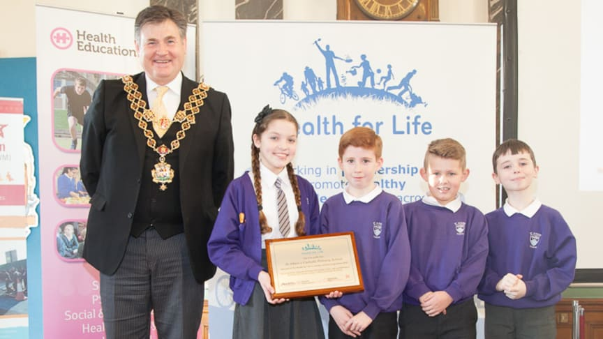 The Lord Mayor Of Birmingham, Councillor Carl Rice celebrates the annual Health for Life awards with 30 Primary and Secondary schools from across Birmingham