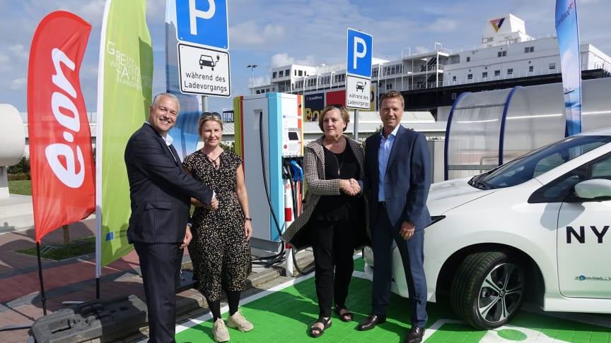 Søren Poulsgaard Jensen (CEO Scandlines), Mette Marie Knudsen (Senior Business Developer E.ON), Britt Karlsson-Green (Project Manager GREAT, Region Skåne), Heiko Kähler (Geschäftsführer Scandlines Deutschland GmbH)