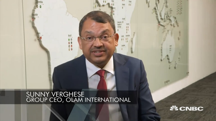 Screenshot from Sunny Verghese's CNBC interview
