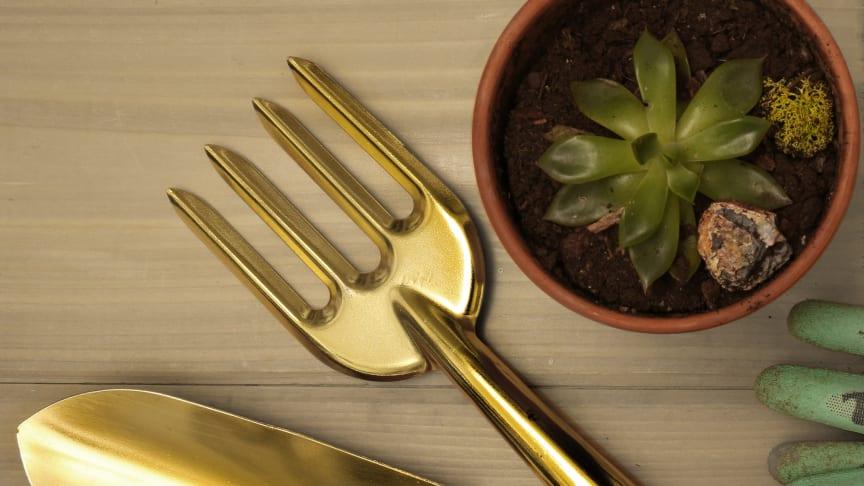 Gyllene trädgårdsredskap