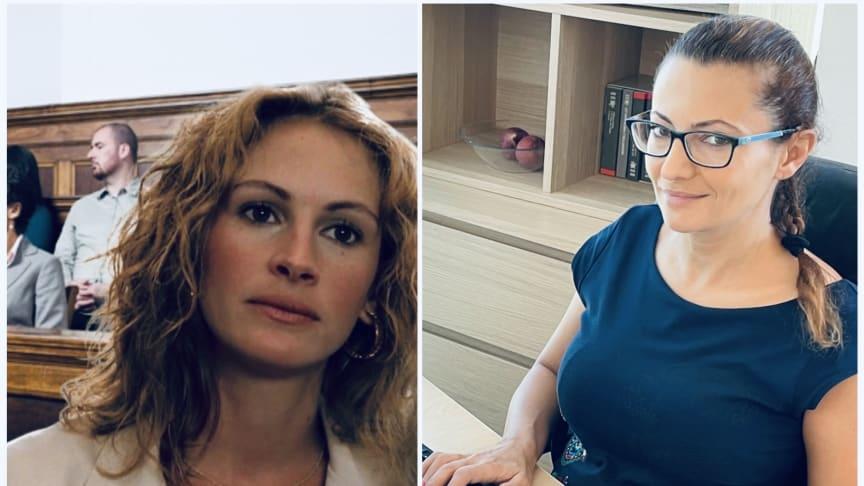 "Left:  Julia Roberts plays ""Erin Brockovich"". Right:  Real life legal champion Adriana Stoyanova"