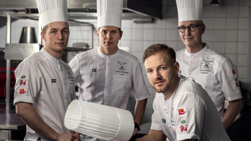 Gruppbild svenska teamet: Gustav Leonhardt, Tommy Myllymäki, Sebastian Gibrand, Henrik Norström