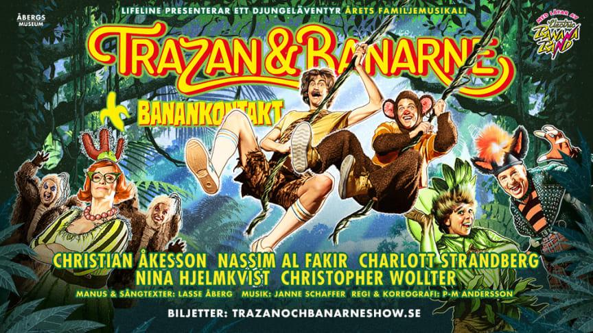 """Lasse """"Trazan"""" Åberg fyllde nyligen 80 år och det glada djungelgänget Electric Banana Band med Janne """"Zebran"""" Schaffer i spetsen fyllde samtidigt 40 svängiga år. Dessa två jubileum firar vi med familjemusikalen Trazan & Banarne – Banankontakt."""
