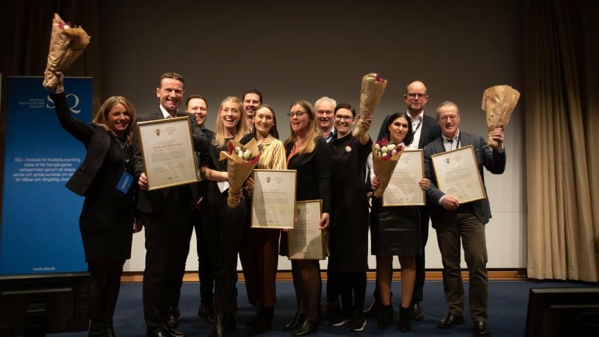 De fem vinnarna av Quality Innovation Award på scenen: NorDan, Region Gotland, PURE ACT, United Services och Multi4.