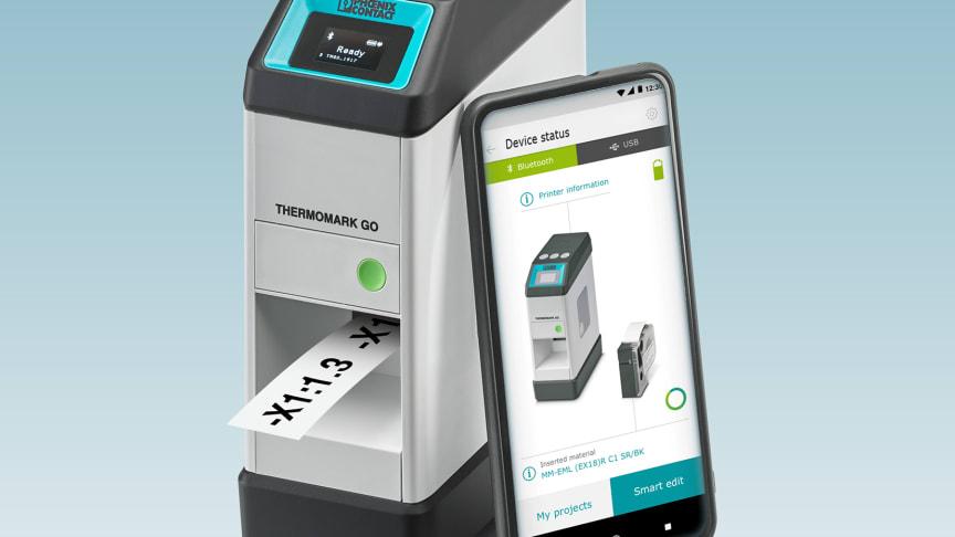 Framställ industriella märkningar direkt på plats vid applikationen med den mobila etikettskrivaren THERMOMARK GO