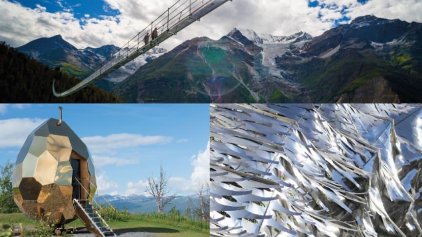 Vad bygger vi med framtidens stål? Film 1: Världens längsta hängbro om 494 m, en monteringsbar bastu med hoppfullt budskap och fasader som andas.