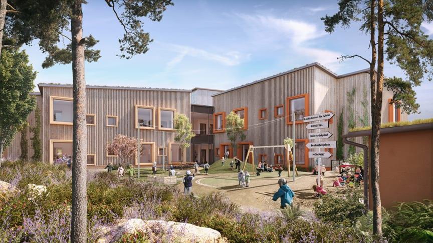 Förskolan Hoppet är Göteborgs Stads innovationsprojekt för att bli först i Sverige att bygga fossilfritt.  Bild: LINK arkitektur