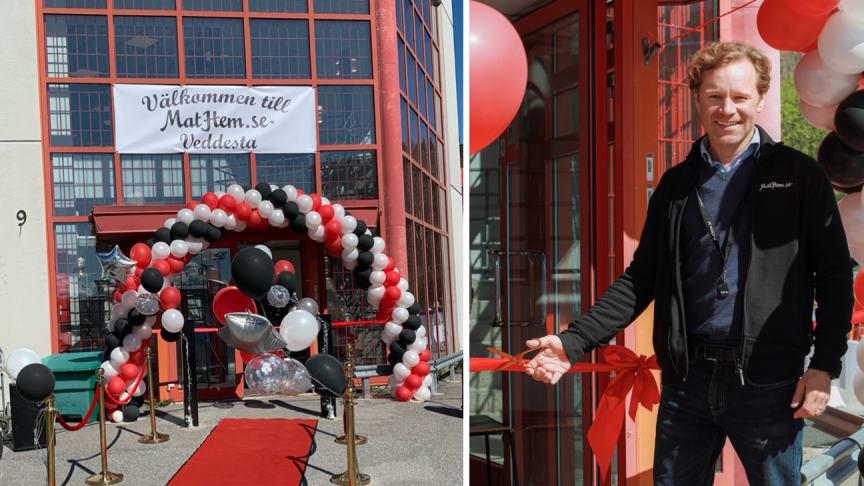 MatHems vd Johan Lagercrantz inviger MatHems nya lager i Veddesta, Stockholm