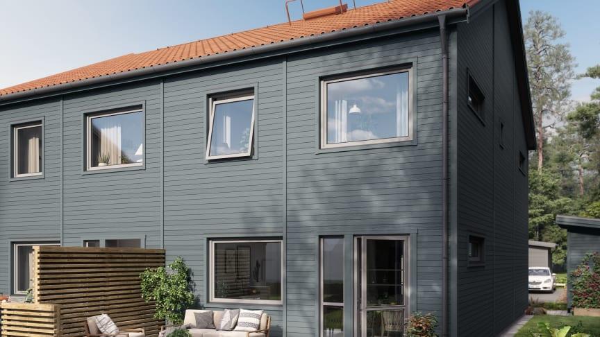 Varje bostad i Brf Skogshem får egen uteplats.