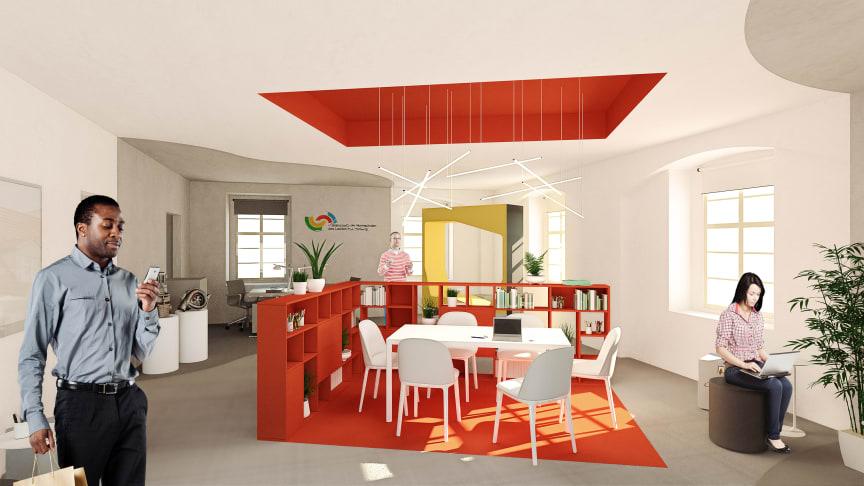 So könnte die Präsenzstelle in Zukunft von innen aussehen. Gestaltet sind die Entwürfe von den Geschwistern Trebschuh, BTU-Alumni Architektur