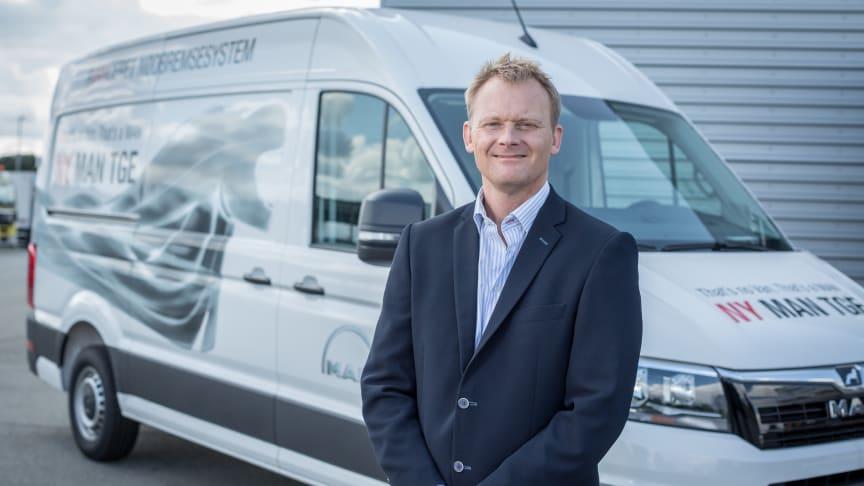 MANs glade og travle varebilschef Nicolai Sperling glæder sig til vise den nye varebil frem til kunderne på den kommende MAN TGE Discovery Tour