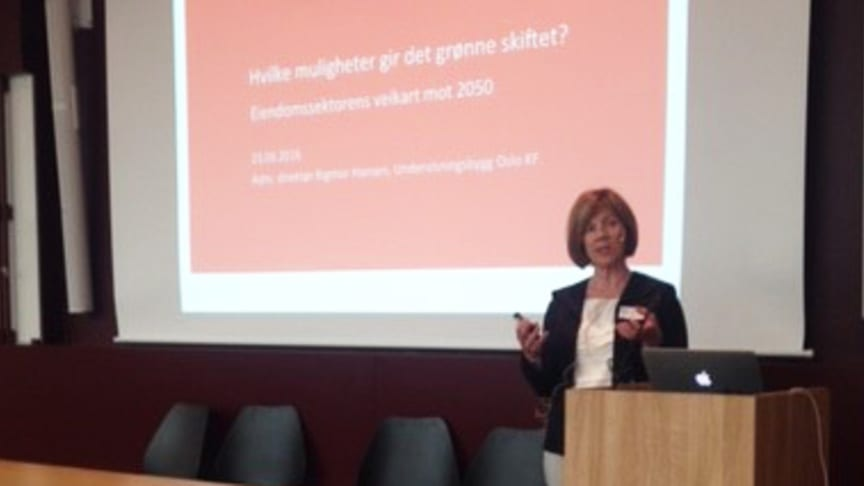 Administrerende direktør Rigmor Hansen snakker om hvordan det grønne skifte påvirker Undervisningsbygg, som er en offentlig eiendomsaktør. Foto Siri Dobloug, Undervisningsbygg