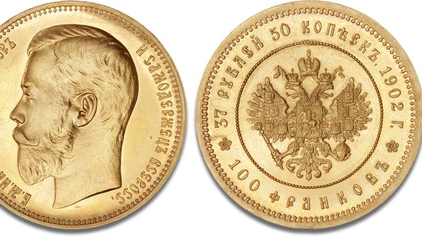 Nikolaj II's sjældne guldmønt, der fik et rekordhammerslag