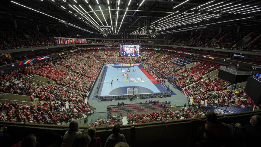 Handbolls-EM för herrar som spelades på Malmö Arena i januari 2020 var det sista stora internationella evenemang som genomfördes i Skåne innan pandemin slog till. Men nu vänder det igen för Skånes arenor och kongressanläggningar.Foto: Bobby Bannister