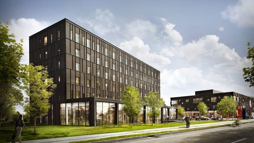 Det nye Zleep Hotel Lyngby set fra Lundtoftegårdsvej ved siden af Ferrari. Hotellet står færdigbygget i 2020.