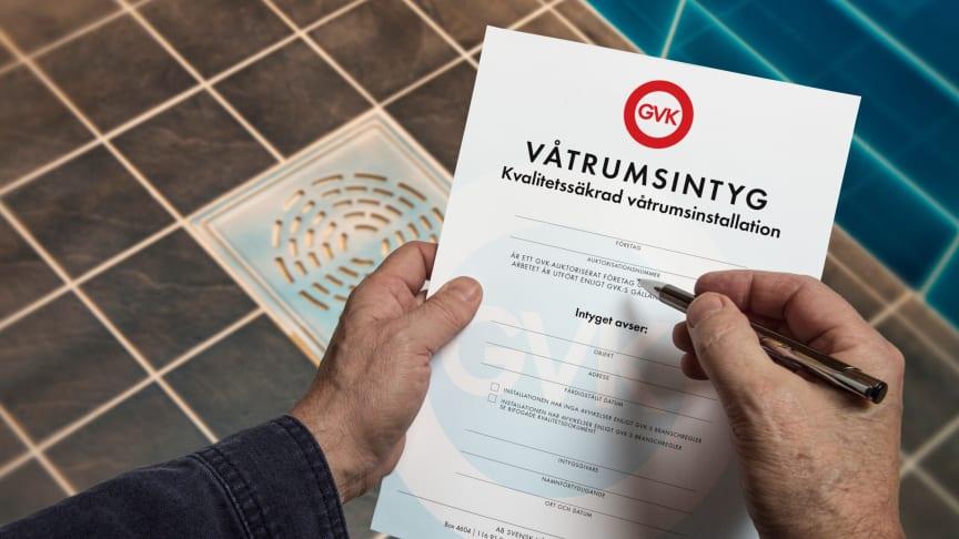 Ett våtrumsintyg utfärdas av auktoriserade GVK-företag och är en värdehandling vid renovering av badrum.