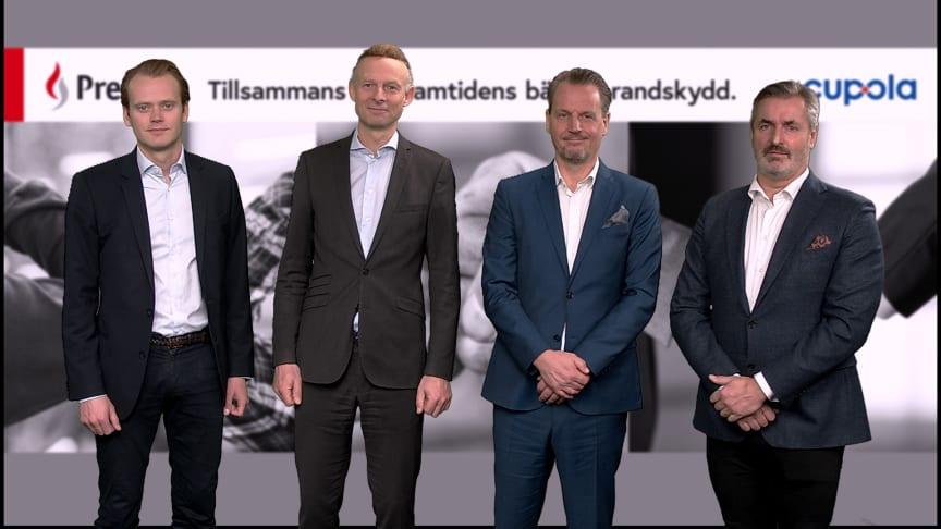 Erik Hallert (Adelis Equity), Filip Bjurström (Presto Brandsäkerhet AB), Christopher Evers (Cupola AB), Jan-Olof Svensson (Pamica)