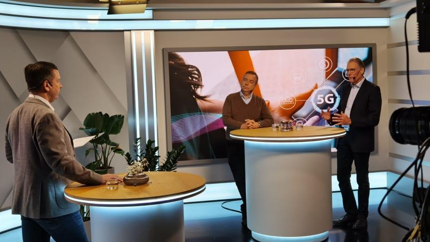 I webbinariet om 5G-nätet deltog Kenneth Karlberg och Erik Hallberg. Samtalet leddes av Mats Roesgaard Sjödin, chefredaktör för Telekomnyheterna.