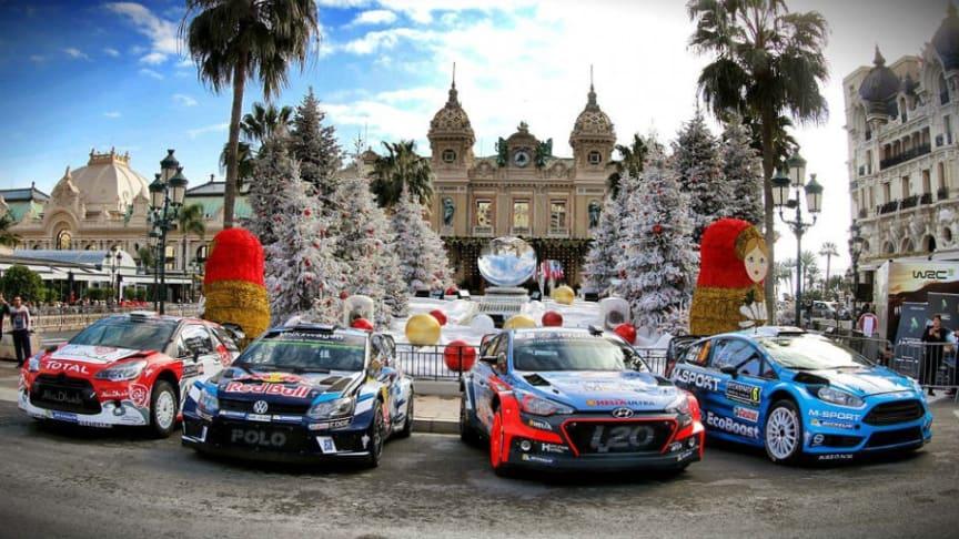Hyundais nye i20 WRC (nr to fra høyre)  gikk til topps på første etappe av Rally Monte Carlo