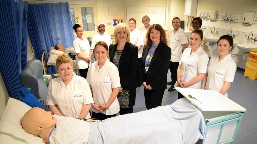 Student nurses with Dr Alison Stevens, Associate Professor in Nursing, Midwifery & Health at Northumbria University & Debbie Reape, Interim Executive Director of Nursing at Northumbria Healthcare NHS Foundation Trust