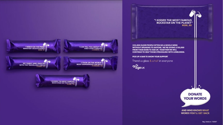 Iconic chocolate brand, Cadbury is removing the branding on 10 million of its well-loved Cadbury Dairy Milk bars and replacing it with quotes of unexpected stories from older people about the lives they've led.