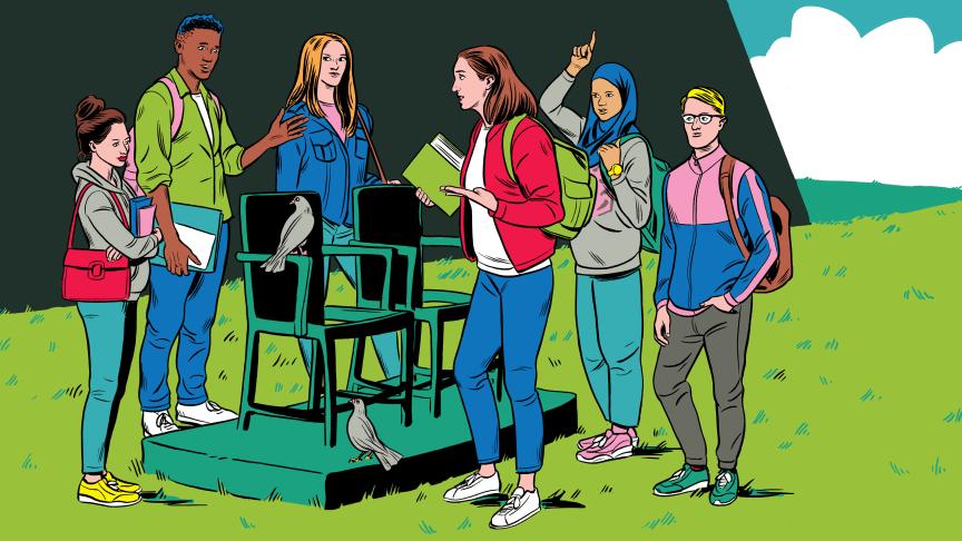 Elever bør delta aktivt i egen læring, også av Holocaust, anbefaler organisasjonen IHRA. Illustrasjon: Kristian Hammerstad/byHands