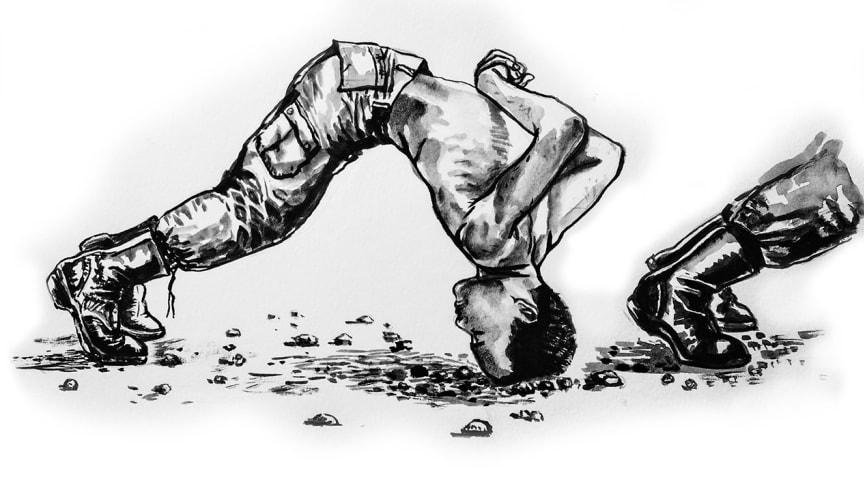 """På illustrationen syns """"huvuddopp"""" - en form av straff som värnpliktiga ofta utsätts för. De måste stanna i positionen, ofta mot het betong eller asfalt, i upp till en halvtimme.©Wana Wanlayangk"""