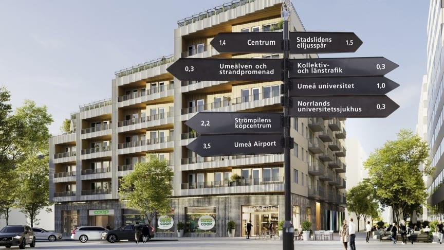 Huset med 78 bostadsrätter på Östra Station. Skissbild Wingårdhs.