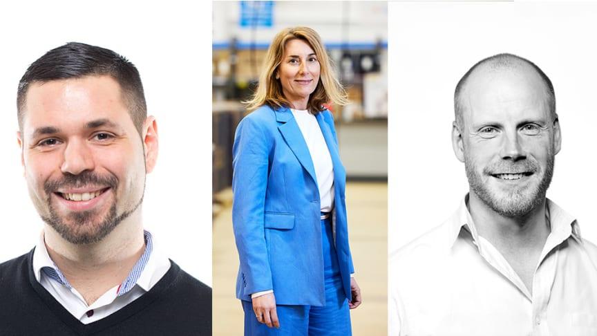 Thomas Wendel, ny retailchef, Sofie Struwe, CCO och Daniel Norén, ny Commercial Lead/Go-to-Market - alla NetOnNet.